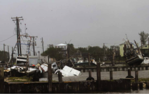 Hurricane Irma and Harvey Aftermath on a boat harbor