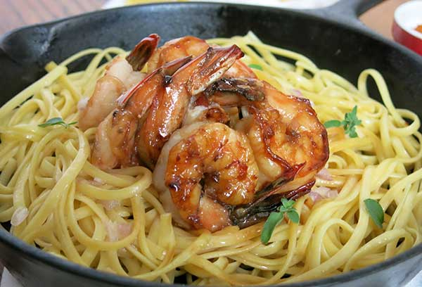 Maple Glaze beurre-blanc Shrimp over Linguine
