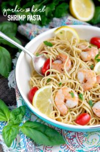 Wild American Shrimp Recipe - Garlic and Herb Shrimp Pasta by The Seasoned Mom