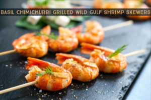 Wild American Shrimp Recipes - Basil chimichurri grilled Wild Gulf Shrimp skewers